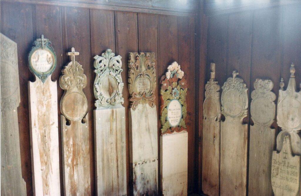 Wooden gravestones
